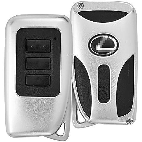 [M. JVisun] telecomando auto keyless entry trasmettitore Custodia portachiavi pelle per Lexus ES è GS RC NX RX LS motore Start Stop Smart Key, guscio protettivo in alluminio aeronautico con portachiavi, Silver - 1 De Icer