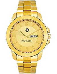 The Doyle Collection DC066 Golden Day And Date Display Analog Watch For Men And Boys