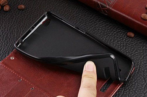 XIAOMI Case Cover Xiaomi Hongmi 4A Fall-Abdeckung, Normallack-erstklassiger Retro- horizontaler Schlag-Standplatz-Fall-Mappe mit Karte Bargeldschlitze für Xiaomi Hongmi 4A ( Color : Rose , Size : Xiao Black