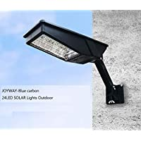 JOYWAY-Blue carbon 24 Led Lamp, Wireless Waterproof Solar Flood Light, Security Motion Sensor Light Outdoor Luces Solares for Deck, Fence, Patio, Front Door, Gutter, Yard, Shed, Path