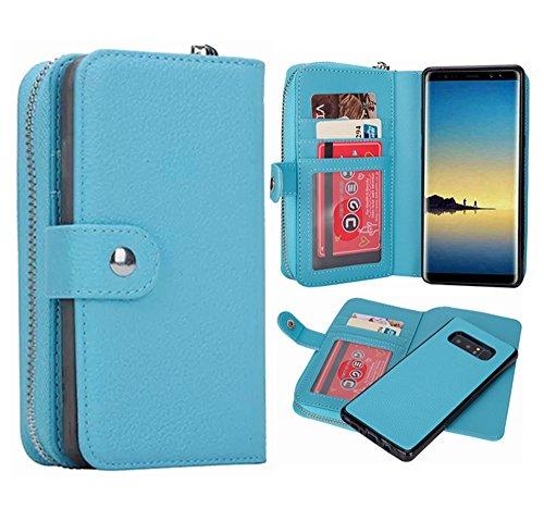 Galaxy Note 8Geldbörse Fall, hysjy Magnetic Abnehmbare Flip Leder Telefon Fall mit Kartenfächern Wristlet Gurt Tasche Abnehmbarer Slim Back Cover für Samsung Galaxy Note 8, Zip-Blue -