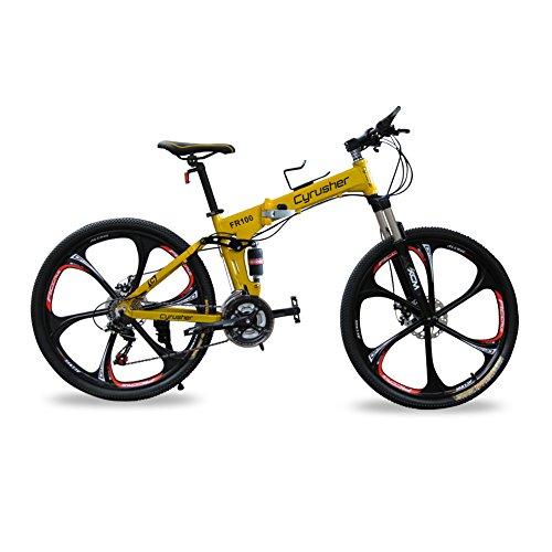 cyrusher® Neue Aktualisierte gelb FR100Mountain Bike usw. klappbar Rahmen MTB Dual Suspension Herren Fahrrad matt schwarz Shimano M310Altus 24Geschwindigkeiten 43,2x 66cm Alu Rahmen Fahrrad Scheibenbremsen