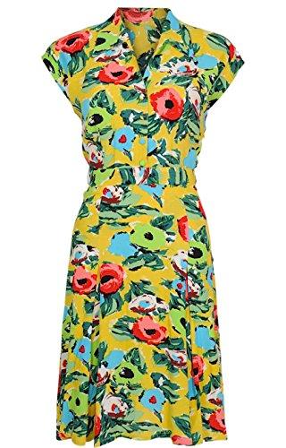 King louie dORIS dRESS robe rENOIR Multicolore - Mimosa Yellow