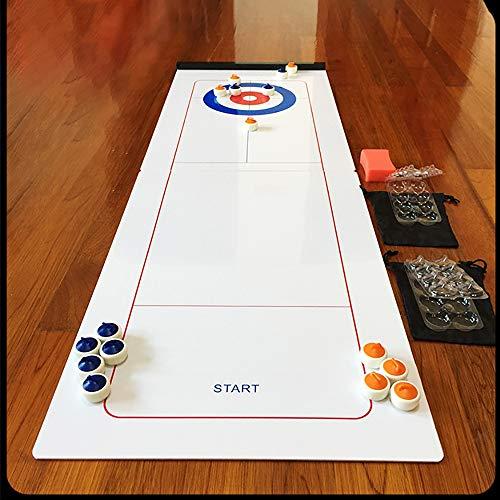 Instag Tisch-Curling-Spiel und Familienspaß Brettspiele Dekompressionsspielzeug Shuffleboard Pucks mit Rollern für Kinder und Erwachsene Travel Compact Storage