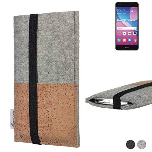 flat.design Handy Hülle Sintra für Huawei Y6 Pro 2017 Dual SIM Handytasche Filz Tasche Schutz Kartenfach Case Kork