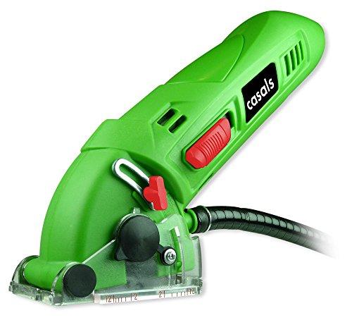 Casals VMSC12M - Mini sierra circular (potencia 400 W, 3.500 rpm, diámetro disco 54.8 mm, disco con 18 dientes (Z18), accesorios y maletín incluidos) color verde y negro
