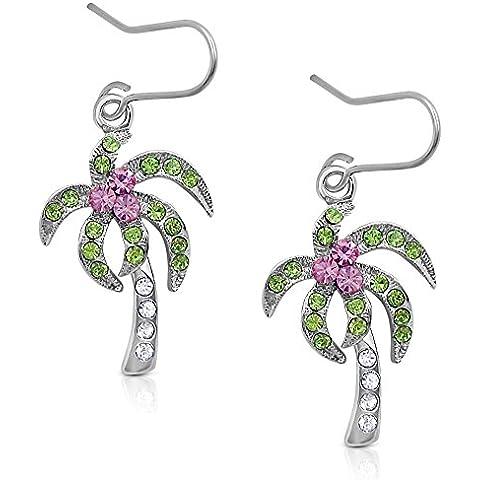 Plata tono Tropical/Árbol de Coco Pendientes largos con cristales, rosa claro y transparente y verde