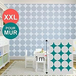 Pochoir XL géant mural 100 X 70 cm - formes géométriques / cercle - pour peinture mur