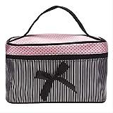 AMZIJ Cosmetic bagWomen Square Bow Stripe Kosmetiktasche Bow Makeup Bag 19 * 12 * 11cm Schwarz Pink...