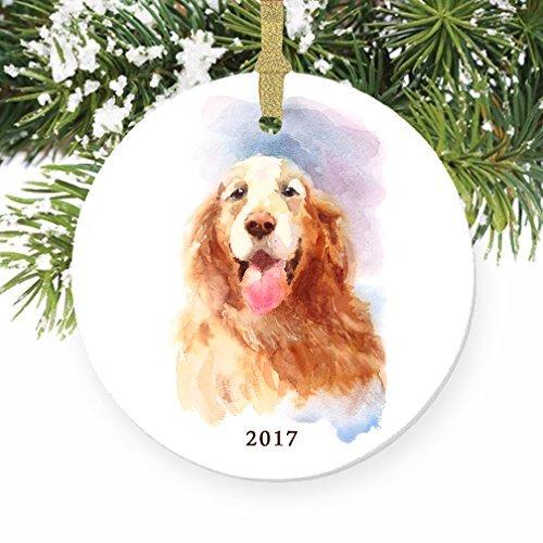 Golden Retriever Hund rund Weihnachten Ornament Andenken Xmas Tree Dekoration Hochzeit Jahrestag Geschenk Weihnachtsbaum Geschenk Idee -