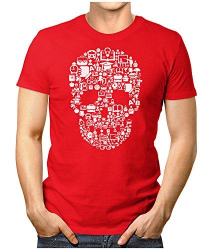 PRILANO Herren Fun T-Shirt - DEAD-SCHOOL-SKULL - Small bis 5XL - NEU Rot