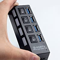 Laptone LCP1101 - Hub USB (4 x USB 3.0), color negro