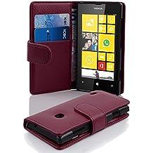 Cadorabo - Funda Nokia Lumia 520 Book Style de Cuero Sintético en Diseño Libro - Etui Case Cover Carcasa Caja Protección con Tarjetero en BURDEOS-VIOLETA