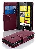 Cadorabo Hülle für Nokia Lumia 520 - Hülle in BORDEAUX LILA – Handyhülle mit Kartenfach aus struktriertem Kunstleder - Case Cover Schutzhülle Etui Tasche Book Klapp Style