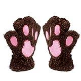 Mitones Katomi para otoño e invierno con diseño en forma de garra de oso y de gato, gruesos y de abrigo Marrón marrón Tamaño libre