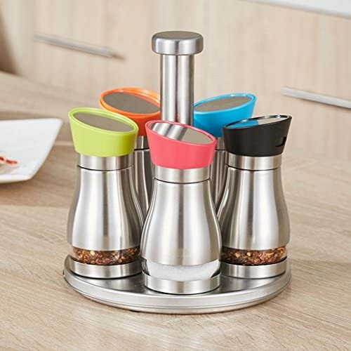 GBT Seasoning Bottle 304 Stagionatura di vetro in inossidabile acciaio inossidabile in Vaso da bagno Cucina Stagionatura Home Spinning Spices Stagione Spumante di stagionatura (6 Assembly) 58859a