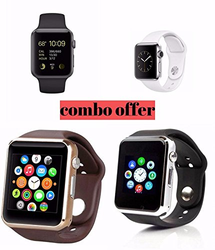 Samsung Galaxy S4 Mini Compatible Bluetooth Smart Watch | Wrist Watch with Sim Card Support for High Quality Calling | Facebook and WhatsApp | Touch Screen | Multilanguage | Activity Trackers | Fitness Band Features | Video Recording | Phone Book | Smartwatch Phone with Camera TF SIM Card Slot | Compatible with 2G 3G 4G Android Mobile Phones & IOS (Pack of 4) By mobicell  available at amazon for Rs.5999