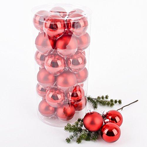 Weihnachtskugel Premium 30er Set Glas 6cm Xmas Baumschmuck (Rot)