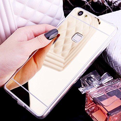 Okssud Felfy Kompatibel mit Huawei P10 Lite Spiegel Hülle Case Handyhüllen Glitzer Gold Silikon TPU Luxus Glänzend Glitzer Case Ultradünnen Gel Weich TPU Silikon Hülle