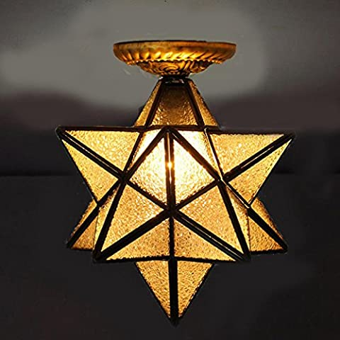 TSJT Modern Style Eye Energy Saving Glass Material LED Five-Pointed Star Chandelier , 40 cm diamond suction top