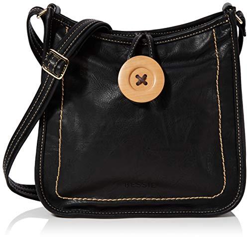 Bessie London Damen Vintage Button Cross Body Umhängetasche, Schwarz (Black), 8.5x28x28 Centimeters