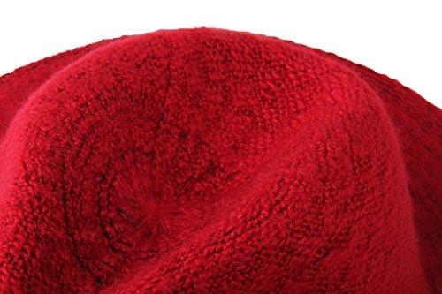 Dantiya Femme Chapeau Capeline de Mohair Uni Classique Rétro 2 Couleurs Rouge