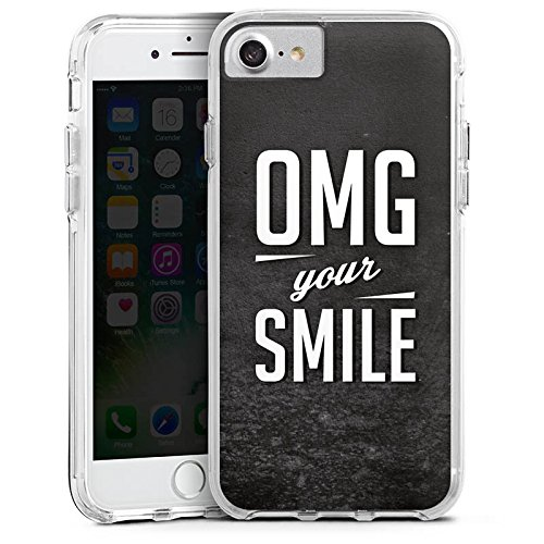 Apple iPhone 7 Bumper Hülle Bumper Case Glitzer Hülle Smile Phrases Sayings Bumper Case transparent