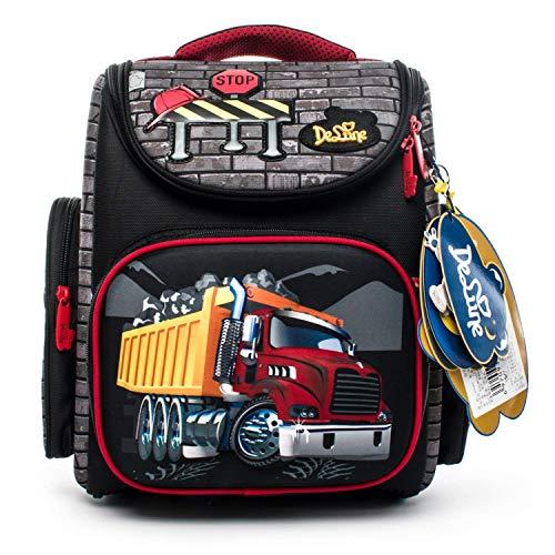 Delune Kids Rucksack wasserdicht und große Kapazität falten orthopädische Jungen Schultasche mit LKW-Muster (Personalisierte Schulrucksäcke Für Jungen)
