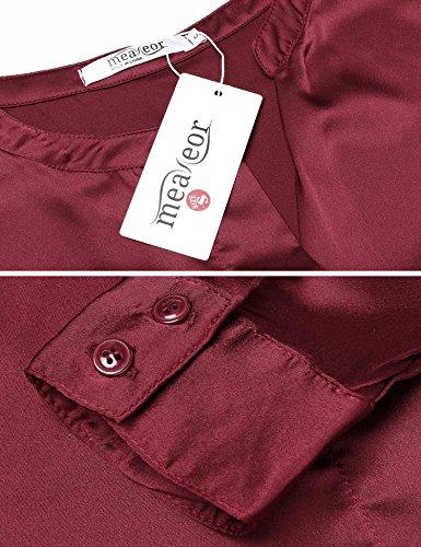 Meaneor Damen Satin Bluse V-Ausschnitt Basic Blusenshirt Mit Volant-Detail Langarmshirt Hemdbluse Oberteil Weinrot