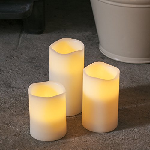 Conjunto de 3 velas LED cambia color de cera natural a pilas de Lights4fun