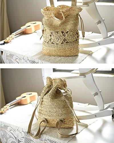 Imagen de leisial casual moda de  bolsa de paja playa verano vintage bolso de viaje pura mano de ganchillo straw bag para mujeres color café alternativa