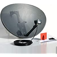 SSL Satellites 80CM Zone 2 Freesat HDR Satellite Dish DIY Self Installation Kit,Latest Dish with Quad LNB,5 Meter RG6 Black coax Cable all necessary Brackets,Bolts and SATELLITE FINDER