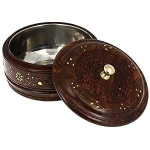Boîte en bois fabriqués à la main en acier inoxydable Pot Saladier avec couvercle, pour Chapatis 7,5 ''