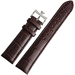21mm Brown Leather Watch Band Strap Buckle Replacement