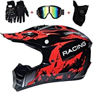 Youth Kids Motocross Helmet, ATV Motorcycle Helmet SUV Dirt Bike Mountain Bike Helmet Gloves Goggles 4 Piece S