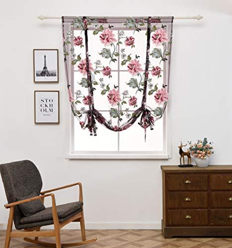 Clothink 140x140cm Raffrollo Schlaufen Gardinen Voile Vorhänge