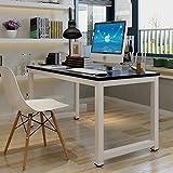 GOTOTOP Tavolo per Computer, Computer Desk Scrivania Postazioni di Lavoro,Tavolo da Pranzo Tavoli riunioni per casa e Ufficio Studio e Scrittura,120×60×74cm (Nero)
