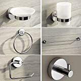 iBathUK | Chrome Wall Mount Bathroom Accessory 6 Piece Complete Set ACCFS1