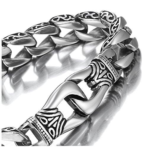 Asombroso brazalete de eslabones para hombre, de acero inoxidable, plata y negro, 23cm de ajuste para la muñeca