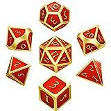 Hestya 7 Stücke Metall Würfel Set DND Spiel Polyeder Solide Metall D&D Würfel Set mit Aufbewahrungstasche und Zinklegierung mit Emaille für Rollenspiele (Rot)