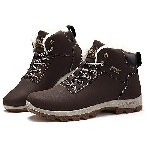 ... Gomnear Randonnée Chaussures Hommes Chaud Hiver En Plein Air Fourrure  Doublé Non-slip Trekking Escalade ... b1bd88237ef9