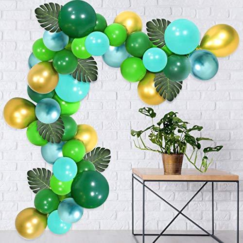 Jollyboom Dschungel-Thema-Partei-Versorgungsmaterialien Safari-Partei-Versorgungsmaterialien Geburtstags-Babyparty-Dekorationen mit Dschungel-Thema-Ballonen Bogen grünes Gold