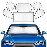 Favoto 6-teilg Auto Sonnenblende Frontscheibe Windschutzscheibe UV Schutz Sonnenschirm Auto Sonnenschutz Kinder Nylon Silber
