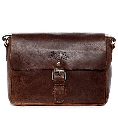 SID & VAIN® Schultertasche YALE - Damen Umhängetasche klein Ledertasche - Handtasche im Vintage-Look Damentasche echt Natur-Leder braun-cognac (Schulter-handtasche Kleine)