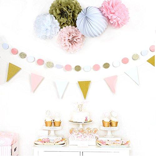 7er Set Gold Rosa Weiß Papier Dekoration Serie PomPom Lampion Glitter Girlande Wimpel Hochzeitsdekoration Zeremonie Deko von SUNBEAUTY