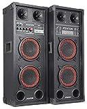 Fenton SPB-210 - PA-Aktiv-Lautsprecher, 1200 Watt max, je 2 x 10'-Woofer und 2 Piezo-Hochtöner, Bluetooth, USB- und SD/MMC, Tragegriffe, Schutzecken und Boxengitter aus Metall, schwarz-rot