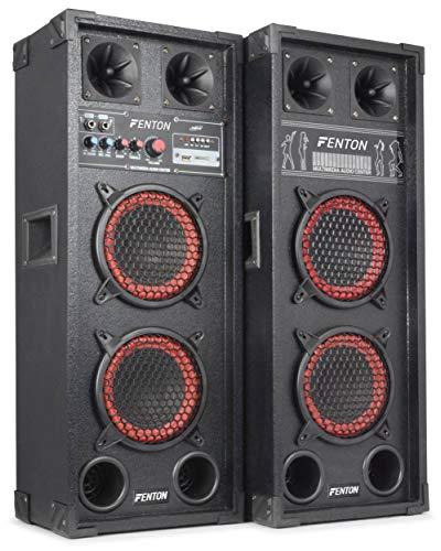 "Fenton SPB-26 - PA Lautsprecher, Aktivboxen Set, 600 Watt max, 2 x 15 cm (6,5"")-Subwoofer, USB-Port, SD-Slot, 2 x 6,3 mm-Klinke-Mic-In, Cinch-Line-In, schwarz"