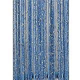 KJH21Quaste Zum Aufhängen Vorhang Trennwand Raum Quaste Silber Seide Starkes Fenster Tür–Tür Oder Fenster Fliegengitter Panel–Panel 1x 2m, Himmelblau, 200cm by 100cm