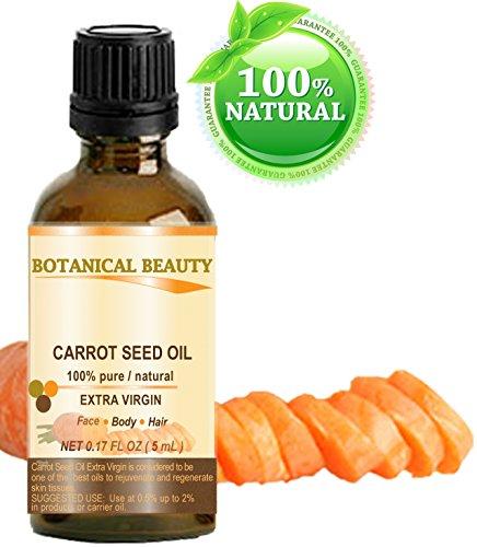 Huile De Graines de carotte 100% concentré/ Naturel /Extra Vierge / Pressée À Froid/ Huile Non Diluée 5 ml. Soin de la Peau, Corps Et Cheveux. Par Botanical Beauty