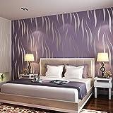 sdfghzsedfgsdfg 10M Home Improvement High-End Luxus-3D-Welle Beflockung Tapetenrollen für Wohnzimmer Wandverkleidung Dekor 7 Farben Lila